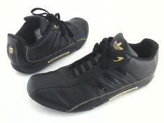 8d07b775a Adidas PORSCHE DESIGN 2007 Driving Shoes Black w Gold 024570 Mens US 9 EU  42 2