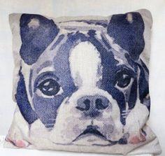 Boston-Terrier-Puppy-Dog-16-034-Throw-Pillow-Decorative-Accent-Cotton-Linen-New