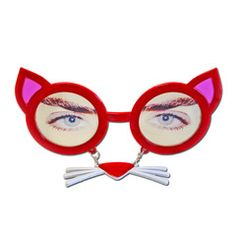 This pair of red cat style glasses with dangling nose and whiskers will be a great addition to your party outfit. Fancy Dress Glasses, Red Cat, Party Supplies, Cats, Gatos, Party Items, Kitty Cats, Cat Breeds, Kitty