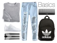 """Basics"" by icecoldbitch ❤ liked on Polyvore featuring Chicnova Fashion, Blair, NIKE, Illamasqua, Sephora Collection and adidas Originals"