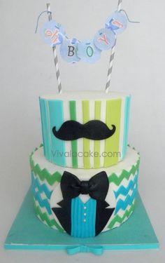Moustache baby Shower cake. Una linda torta para un BABY SHOWER de un niño.