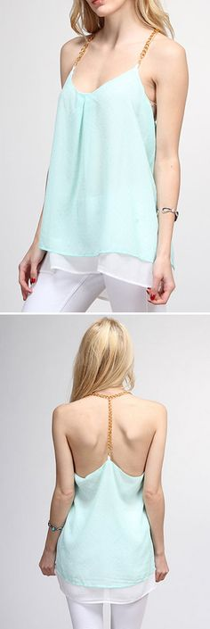 Gold Dotted Mint Chiffon Top