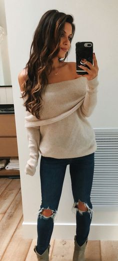 Brown off-shoulder sweater winter fashion outfits, fall winter outfits, fall fashion, Stylish Outfits, Cute Outfits, Fashion Outfits, Womens Fashion, Fashion Tips, Fashion Trends, Stylish Clothes, Fashion Bloggers, Trendy Fashion