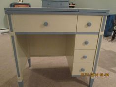 Old sewing machine cabinet with a new purpose!