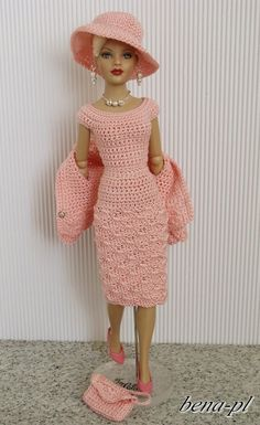 Barbie clothes barbie crochet dress for barbie doll crochet set dress coat hat – ArtofitCrochet pattern PDF for fashion doll by PrincessOfCrochet More - SalvabraniWhat a pretty set Crochet Doll Dress, Crochet Barbie Clothes, Doll Clothes Barbie, Barbie Dress, Knitted Dolls, Barbie Patterns, Doll Clothes Patterns, Clothing Patterns, Barbie Accessories