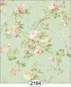 Wallpaper - Juliet's Garden - Floral - Seafoam [WAL2164] - $0.00 : itsy bitsy mini, Wholesale & Retail Dollhouse Wallpaper & Accessories