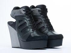 Adidas Originals Blue Streetball Platform Wedge in Black Black White at Solestruck.com