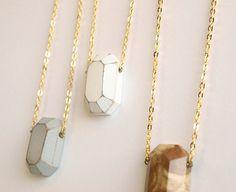 Wood diamond necklace