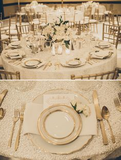 gold and white table decor @weddingchicks