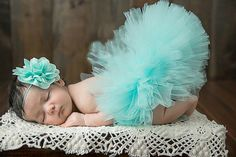 Blue Newborn Knitted Tutu Clothes headwear Skirt Baby Girl Photo Prop Outfits #Handmade