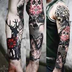 Abstract black and red Animal tattoo works by Timur Lysenko | Post 12696 | World Tattoo Gallery - Best place to Tattoo Arts
