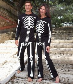 Matching couples costumes are downright adorable. Check out these Glow-in-the-Dark Skeleton jammies!