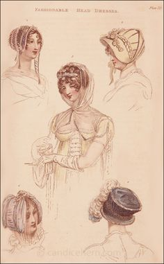 """""""No. 1. Wimple, or hood of transparent gauze bordered with silver.  No. 2. Silver net dress cap lined with purple silk; silver cord and tassels ..."""""""