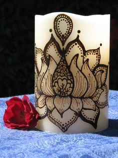 Decorative LED Henna candle Lotus Flower by PeaceForBabies on Etsy, $22.00