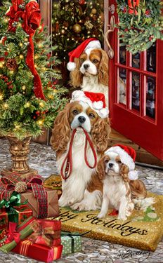 "New for 2013! Cavalier King Charles Spaniel Christmas Holiday Cards are 8 1/2"" x 5 1/2"" and come in packages of 12 cards. One design per package. All designs include envelopes, your personal message, and choice of greeting. Select the inside greeting of your choice from the menu below.Add your custom personal message to the Comments box during checkout."