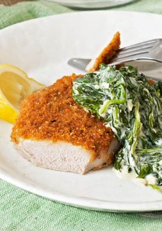 Pork Chops Milanese with Creamed Spinach – No frying necessary in our Pork Chops Milanese with Creamed Spinach. Instead, the chops get their crispy coating and tender, juicy goodness in the oven.