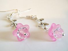 Pink Flowers on the Vine Dangle Earrings by AuntPegs on Etsy, $5.00