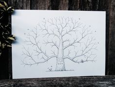 Hand Drawn Tree Custom Fingerprint Tree van AlgoArtStudio op Etsy