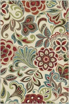 Botanical elements combine to create a tropical flair in this flirty transitional area rug. This design will add a punch of color to various design modes, from traditional to contemporary. Snowy ivory background with cranberry red, espresso brown, pear green, ecru gold, mushroom taupe, teal blue, and russet. Machine made of soft polypropylene that is naturally stain-resistant and easy to maintain. The three piece set includes a 5' x 7', 1'8