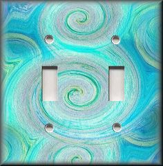 Light Switch Plate Cover - Swirling Colors - Aqua Blue Tones - Home Decor on eBay!