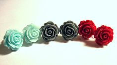1 Pair Rose Stud Pierced Earrings to Match by ArianrhodWolfchild
