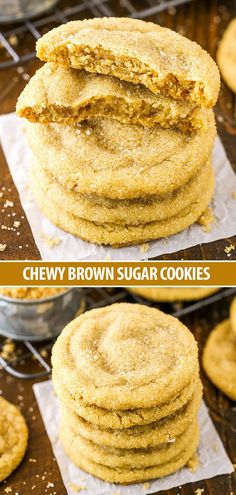 Easy Chewy Brown Sugar Cookies Recipe - - These Easy Chewy Brown Sugar Cookies are made with plenty of brown sugar for a soft and chewy cookie that's a delicious spin on the classic! Brown Sugar Cookie Recipe, Brown Sugar Cookies, Easy Sugar Cookies, Sugar Cookies Recipe, Bordeaux Cookie Recipe, Recipes With Brown Sugar, Easy Cookie Recipes, Gourmet Recipes, Baking Recipes