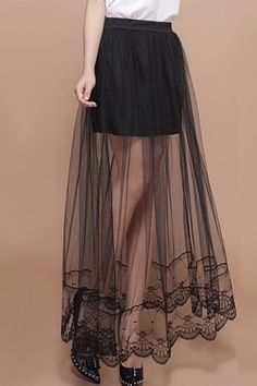 Stylish Elastic Waist See-Through Women's Skirt