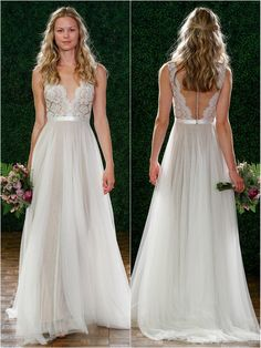 Watters Brides; Santina style 6089B Ivory Carina lace, illusion neckline with Spanish soft netting skirt.