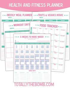 free printable health and fitness planner for exercise