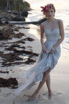a gown the color of the sea for the beach bride