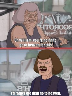 I'd rather die than go to heaven Reaction Quotes, Dankest Memes, Jokes, Metalocalypse, Goth Music, Tv Funny, Rage Comics, Cool Cartoons, Death Metal