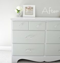Painting wood furniture (before & after). Reference for painting Zach's changing table.