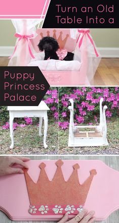 This easy guide will walk you through the steps of upcycling a table and turning it into, not just a dog bed but, a puppy palace! Puppy Beds, Baby Puppies, Pet Beds, Cute Dog Beds, Doggie Beds, Puppy Room, Sleeping Puppies, Dog Beds For Small Dogs, Small Puppies