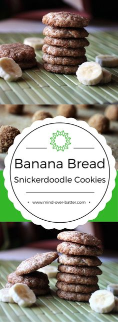 Banana bread and snickerdoodles join forces in these Banana Bread Snickerdoodles! Crunchy spiced sugar coating gives way to a cake-like coo. Delicious Cookie Recipes, Best Cookie Recipes, Holiday Recipes, Delicious Fruit, Healthy Cookies, Yummy Cookies, Drop Cookies, Pastry Recipes, Baking Recipes