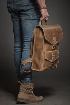 Leather backpack Man backpack Leather rucksack by HollaHandcrafted Hello, friends. Few words about our backpack. This handmade brown backpack will be your reliable helpmate in the urban lifestyle. You can get a laptop with screen size Colorful Backpacks, Brown Backpacks, Leather Backpacks, Leather Backpack For Men, Leather Wallet, Thick Leather, Leather Men, Leather Bags, Vintage Leather