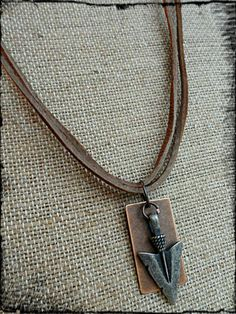 Silver Oxidixed Arrow Head and Copper Bar Mens Leather Necklace