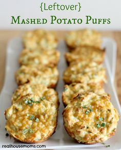 {Leftover} Mashed Potato Puffs are a great way to use leftovers from Thanksgiving. They are easy to make and are yummy with eggs for breakfast or as a side dish!