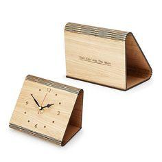 Personalized Flex Time Clock Sleek Minimalist Wood Table Clock Custom Living Hinge Wooden Desk Clock Modern Simple Wooden Clock - Woody Signs Co.