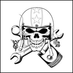 A Logo and Shirtdesign i made for a Speedshop... Smoking Skull with Wrench and Piston crossed...