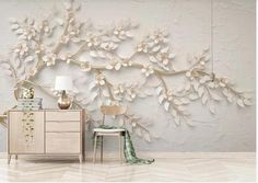 3D European Stereoscopic Embossed Gold Huge Tree Wallpaper | Etsy White Cherries, Tree Wallpaper, Paper Wallpaper, 3d Home, Smooth Walls, Self Adhesive Wallpaper, Flower Wall, Wall Sticker, White Flowers
