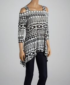 Look at this White & Black Tribal Off-Shoulder Sidetail Tunic - Women & Plus on today! Affordable Plus Size Clothing, New Wardrobe, Ladies Dress Design, Latest Fashion Trends, Plus Size Outfits, Plus Size Fashion, Cool Outfits, Tunic, Clothes For Women