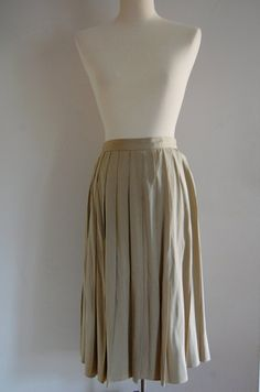 Pleated champagne drapy midi skirt