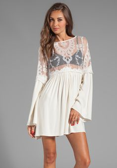 For Love & Lemons Isabella Dress w/ Lace Bodice
