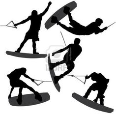 wakeboarder silhouette - Google Search