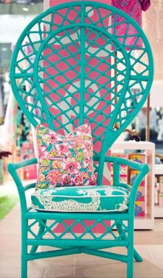 Aqua/Turquoise Cottage •~• wicker butterfly chair