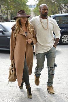 Celeb Diary: Kanye West & Kim Kardashian in Paris Kanye West Outfits, Kanye West Style, Best Of Kanye West, Kanye West And Kim, Mode Outfits, Fashion Outfits, Kanye West Fashion, Jackets Fashion, Kim Kardashian Kanye West