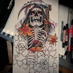 Sleeve design for next month #tattoo #tattoodesign #tattooart #grimreaper #grim…