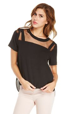 JOA Mesh Insert Blouse. Shop now at DailyLook!