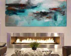 Impression de peinture acrylique abstraite moderne par BuyWallArt