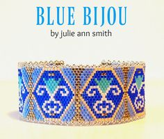 Julie Ann Smith Designs BLUE BIJOU Odd Count Peyote Bracelet Pattern
